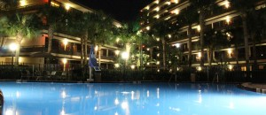 night time rosen inn pool