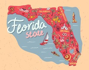 Illustrated map of Florida