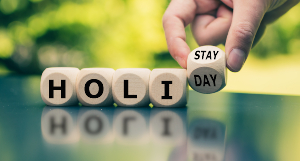 Blocks spelling Holi-stay